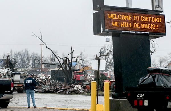 Gifford bank sign broadcasts message of resilience after tornado devastates the area. Credit: The News Gazette.