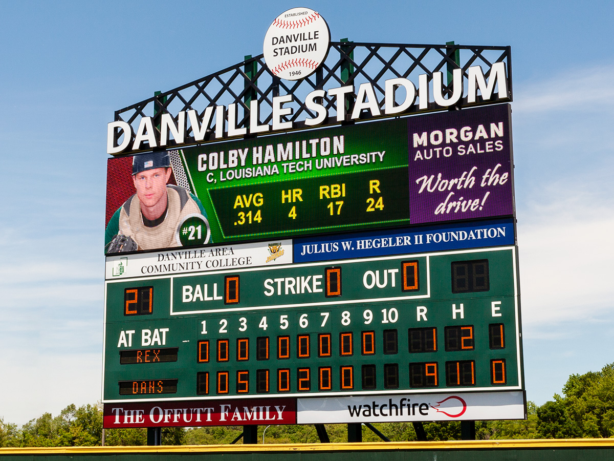 Danville Stadium's New S16mm Video Display and Fixed Digit Scoreboard