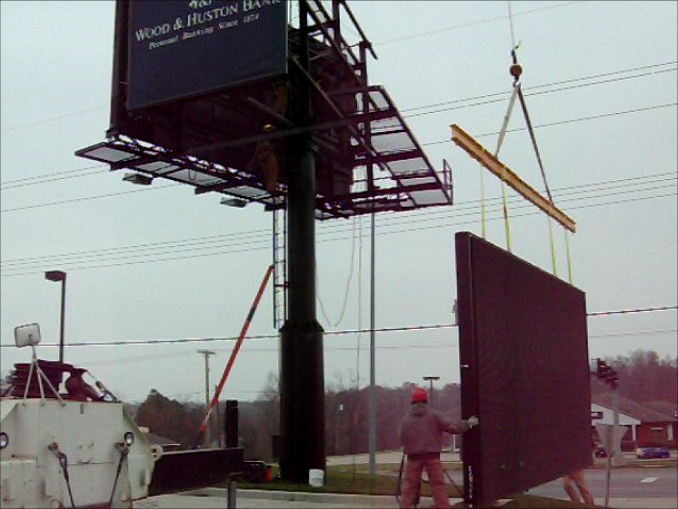 DSW Billboard being installed nearly 7 years ago.