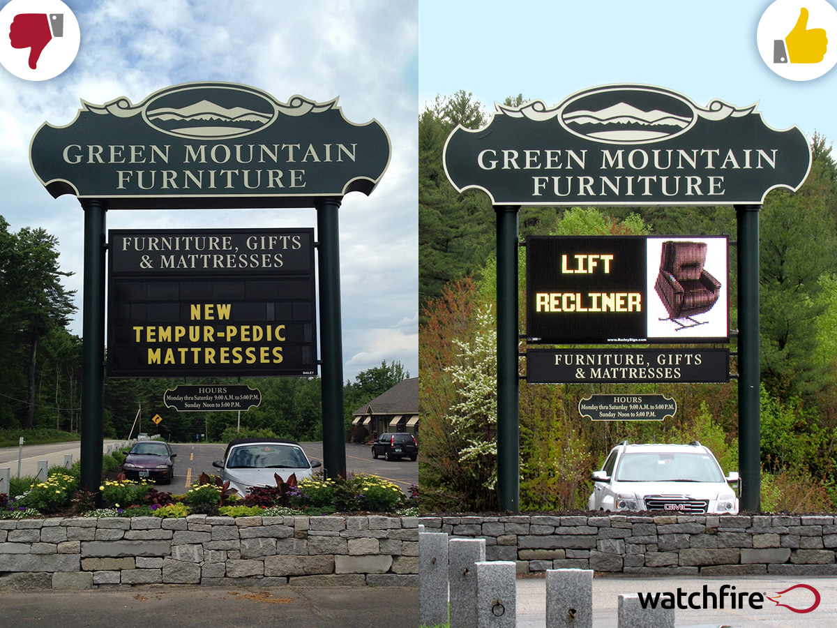 """A before and after of Green Mountain Furniture in Ossipee, NH. They upgraded to a 16mm 4'5"""" x 8'3"""" Watchfire LED sign."""