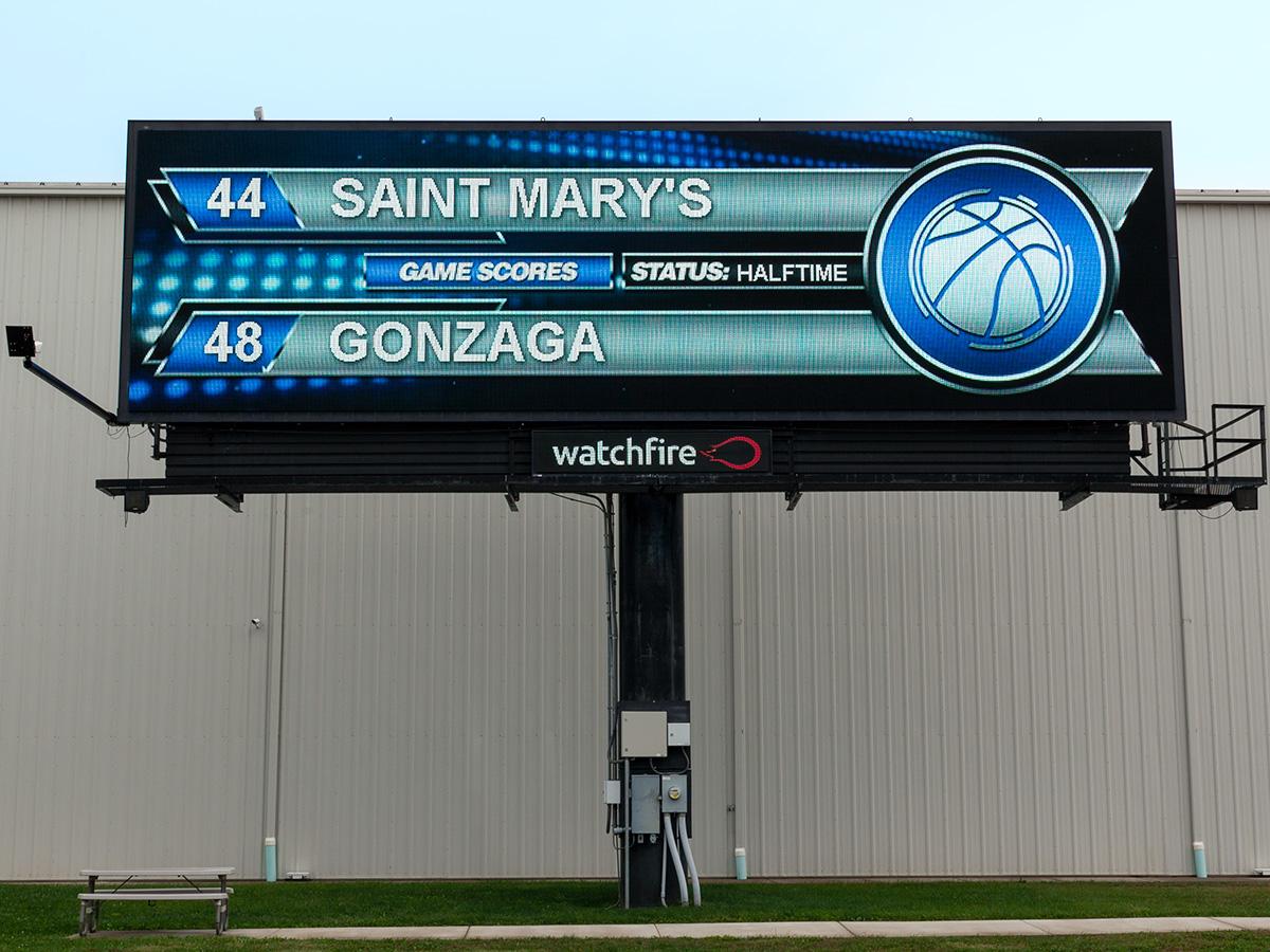 Digital billboard running the Watchfire college basketball widget.