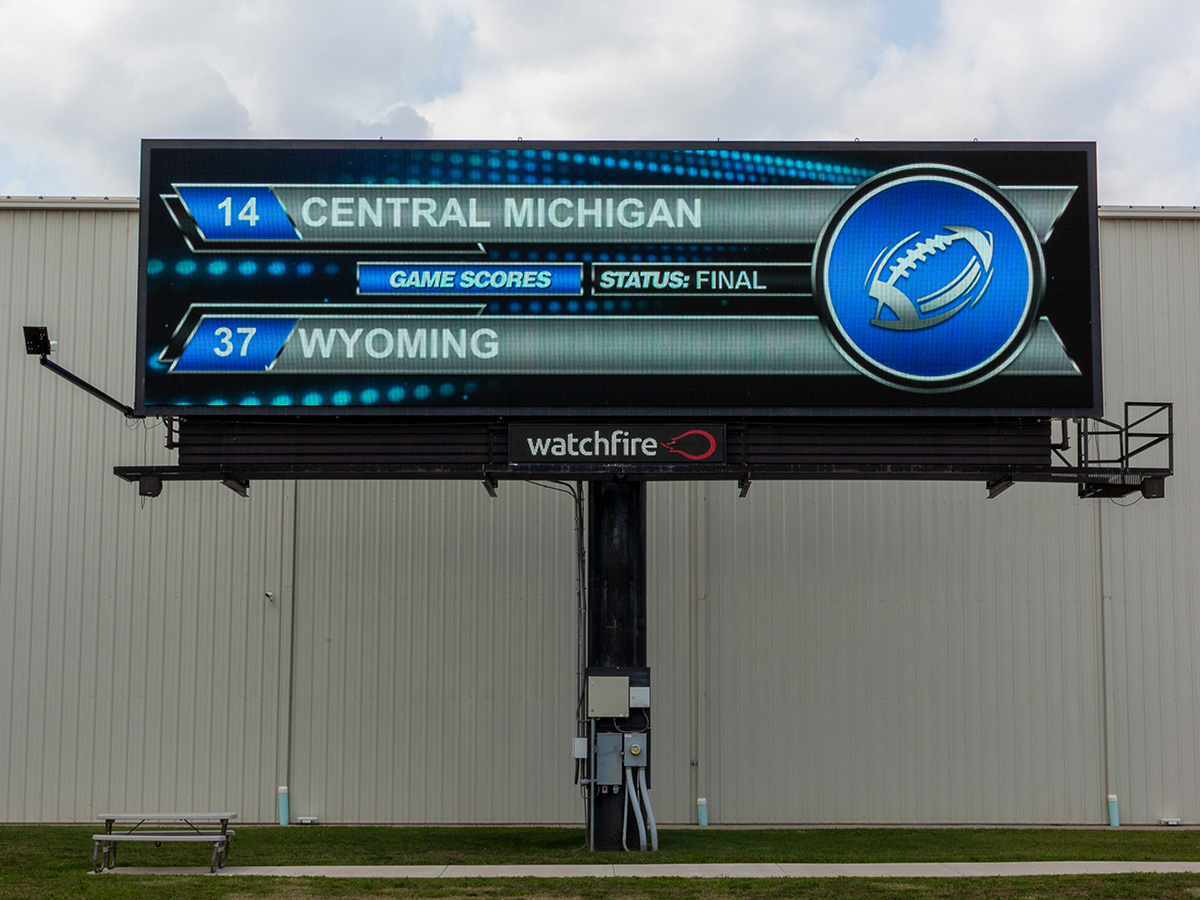Digital billboard running the Watchfire college football widget.