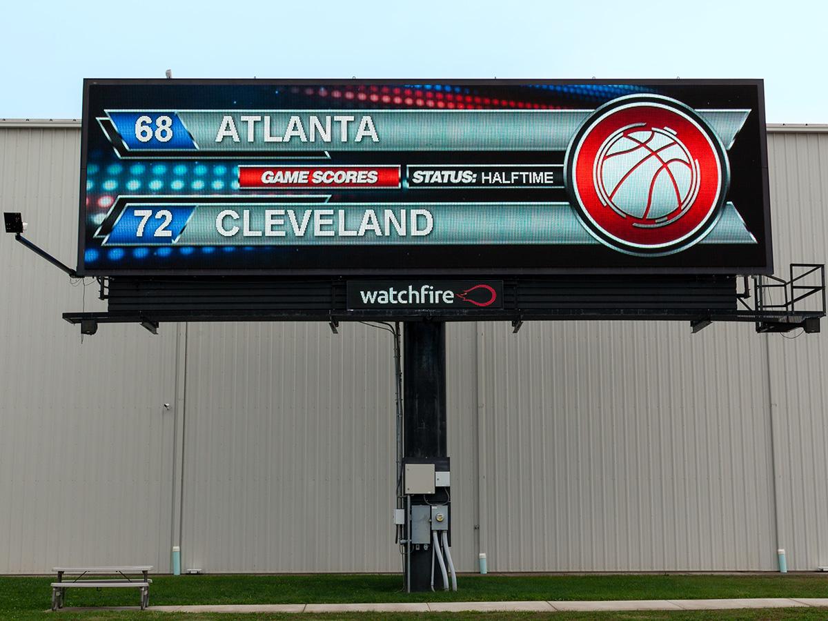 Digital billboard running the Watchfire pro basketball widget.