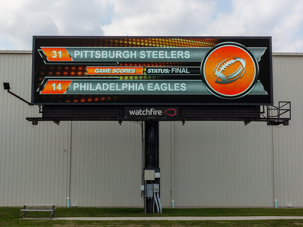 Watchfire's pro football widget displaying the final score between Pittsburgh and Philadelphia.