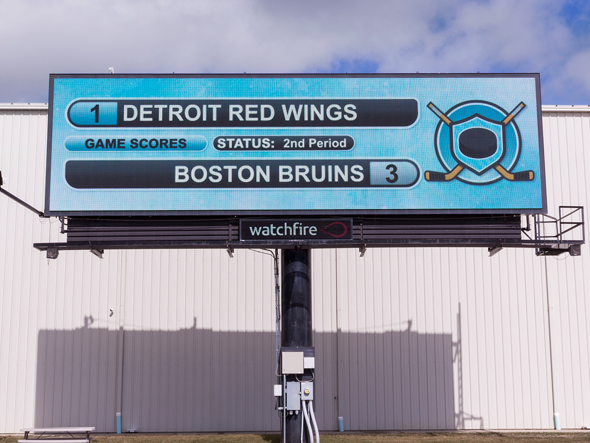 Digital billboard running the Watchfire pro hockey widget.