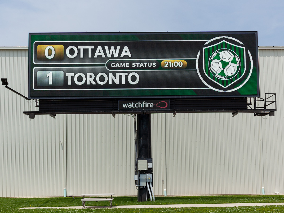 Soccer widget being used on a Watchfire digital billboard.