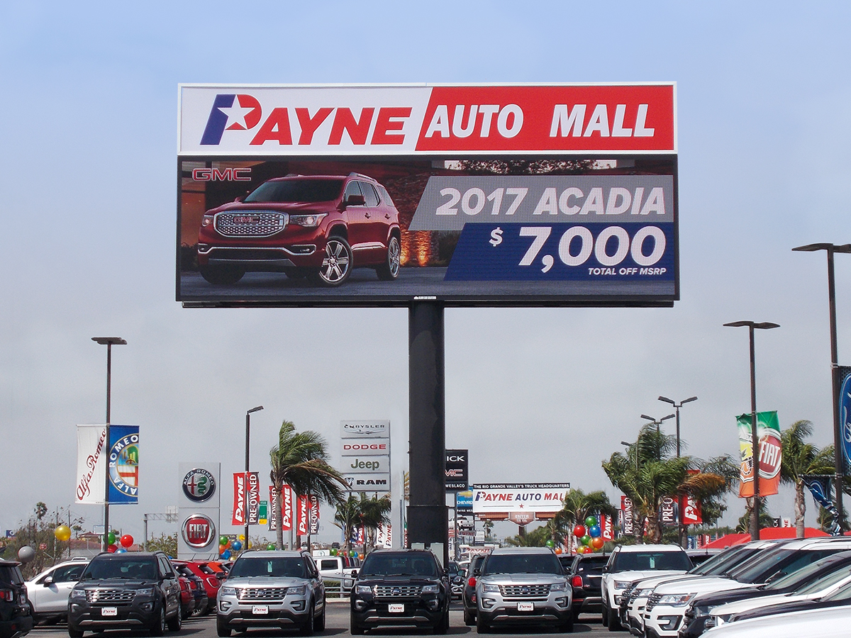 Payne Auto Mall's LED sign