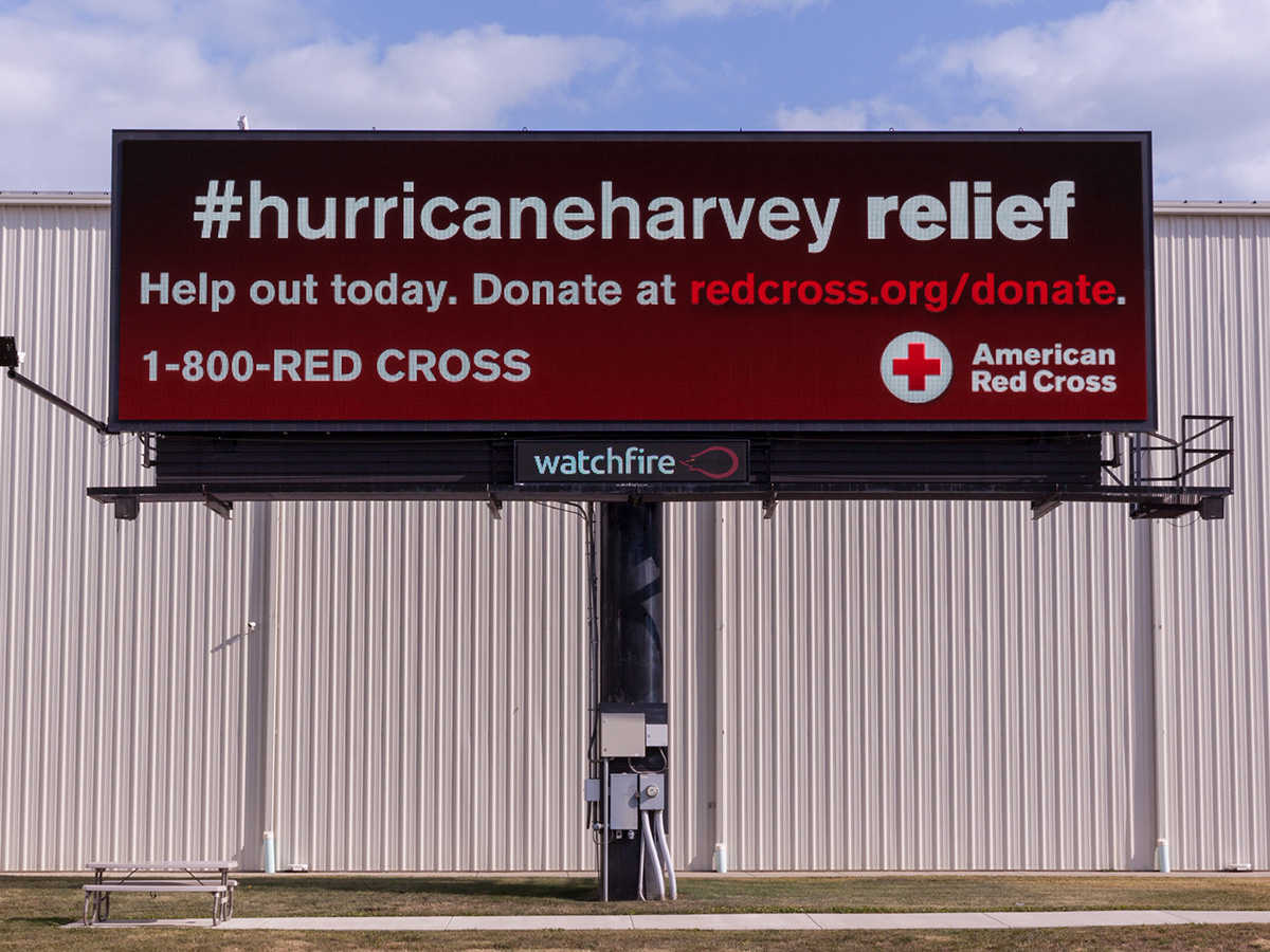 American Red Cross support ad for Hurricane Harvey on a Digital Billboard.