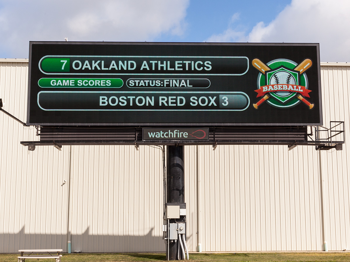 Digital Billboard running pro baseball scores