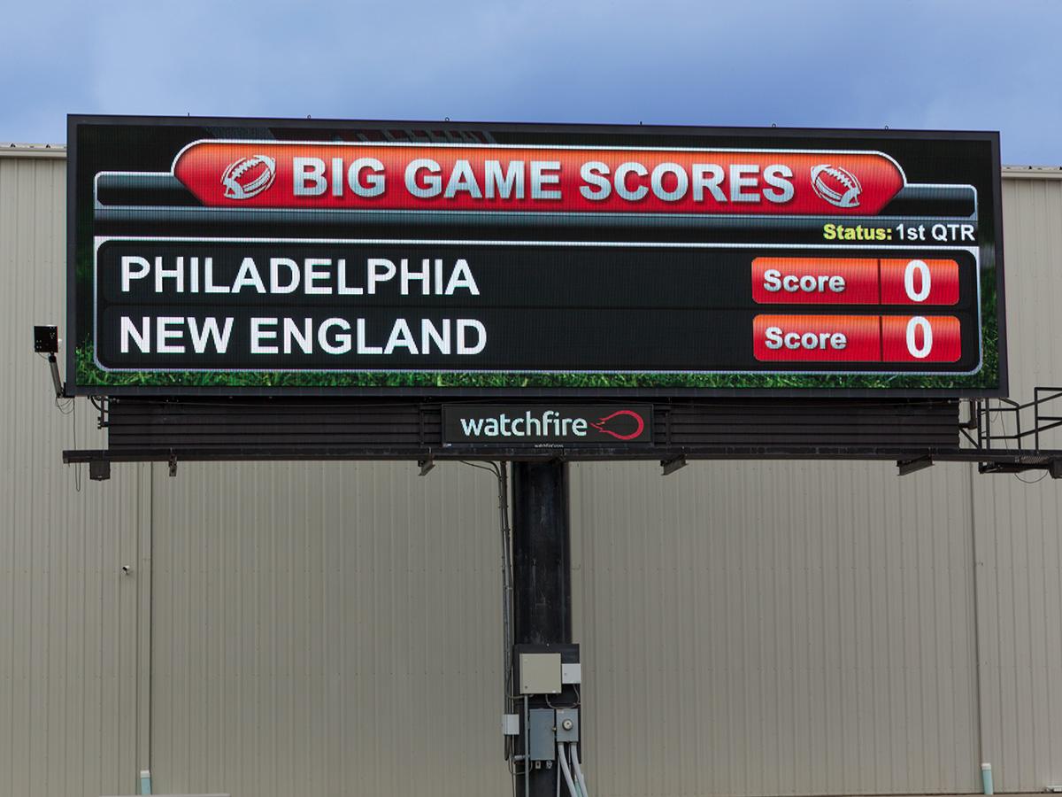 Pro Football scores shown on a Watchfire digital billboard
