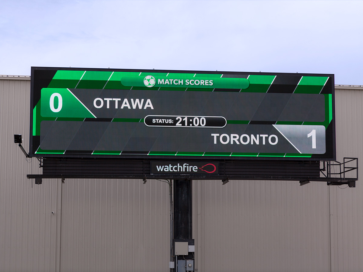 Soccer widget being used on Watchfire digital billboard