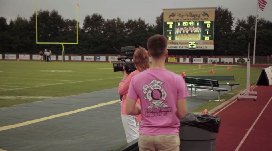 Students use Watchfire video board for live football game production.