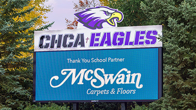 CHCA uses a Watchfire video display for their sports scoreboard.