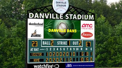 Danville Stadium uses a Watchfire video display on their baseball scoreboard.