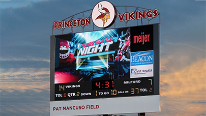 Princeton High School uses a Watchfire video display for their sports scoreboard.