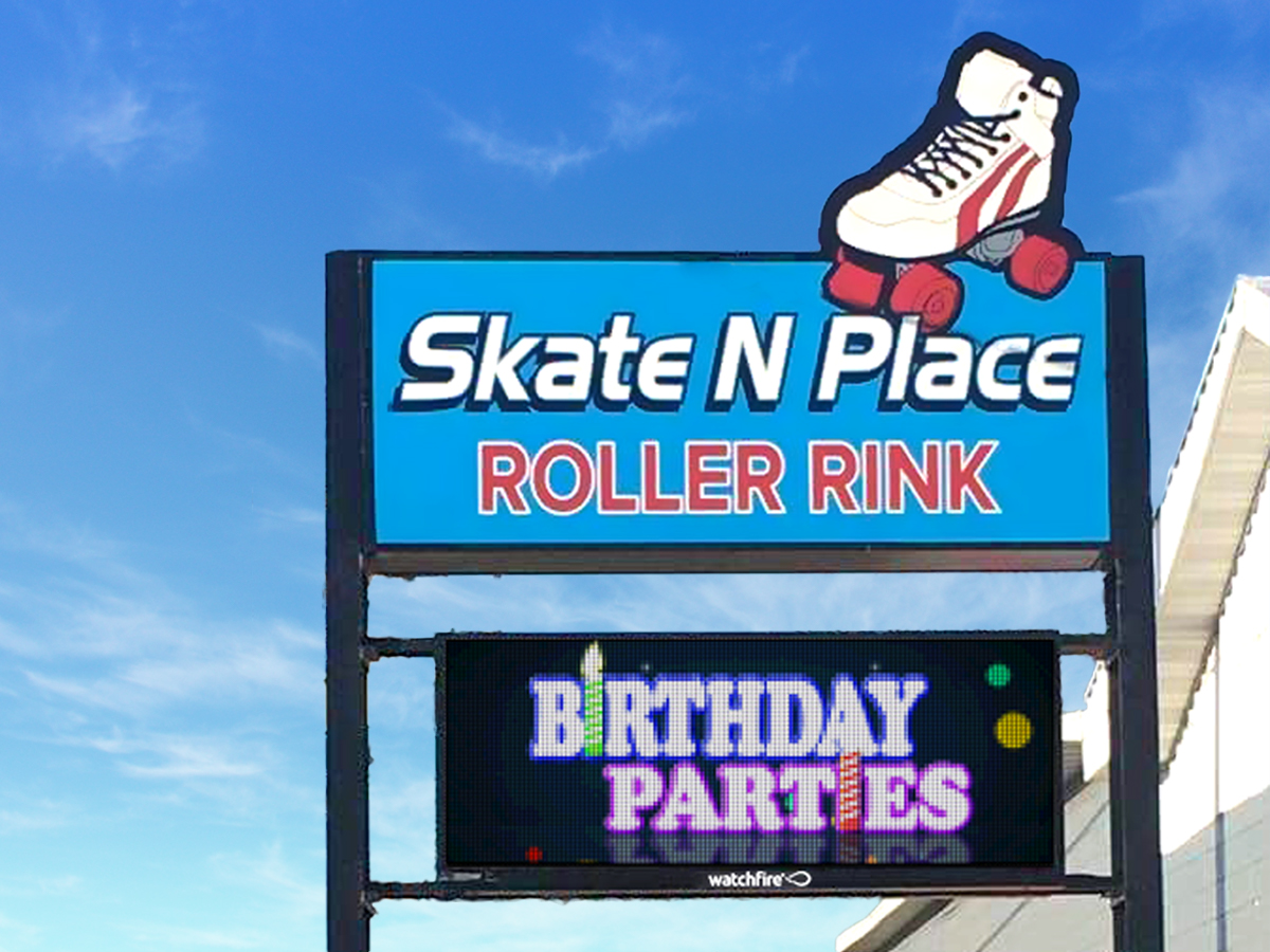 16mm Watchfire LED sign at Skate 'n' Place