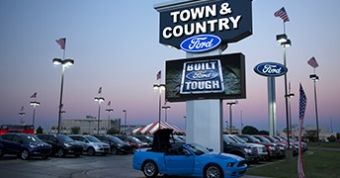 Watchfire outdoor digital display in use at Town and Country Ford.