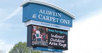 Double-sided 10mm LED sign at Allwein Carpet One in Annville Pa.