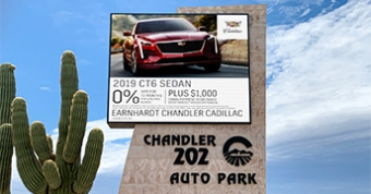 16mm LED sign at Chandler 202 Auto Park in Chandler, AZ.