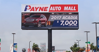 19mm LED sign at Payne Auto Mall in Weslaco, TX.