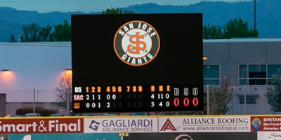 Watchfire created this virtual scoreboard for the San Jose Giants minor league baseball team.