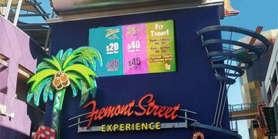 10mm wall mounted LED sign at Fremont Street's Slotzilla attraction in Las Vegas.